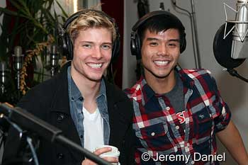 Hunter Parish and Telly Leung in recording studio for the new Broadway Cast Album of Godspell