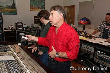 Stephen Schwartz in recording studio for the Godspell cast album