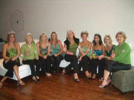 Wicked partygoers with Glinda crowns